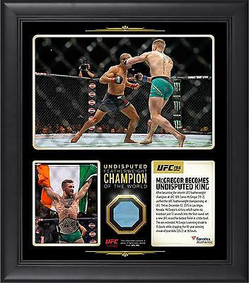 Conor McGregor UFC 194 Framed 15x17 Undisputed Champ Collage w/Fight Used Canvas