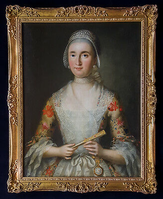 Fine Large 18th Century Portrait of a Young Lady with Fan Antique Oil Painting