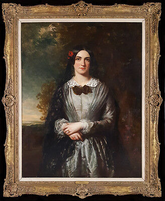 Huge Fine 19th Century British Portrait of a Lady Realism Antique Oil Painting