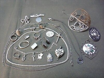 mixed lot STERLING SILVER ... Jewelry, ornaments.  149 grams scrap / resell