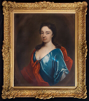 Large 18th Century English Portrait of Pretty Lady Realism Antique Oil Painting