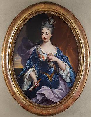 Huge Impressive 18th Century French Lady Portrait with Fan Antique Oil Painting