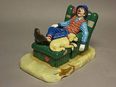 """dreaming"" Clown Sleeping In His Big Chair With His Dog    Direct From Ron Lee"