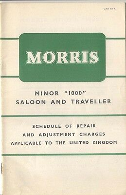 Morris Minor 1000 Saloon and Traveller Schedule of Repair Charges 1957 AKD 811A