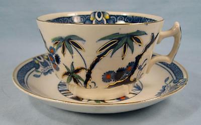 Kenya Blue Cup & Saucer Set Wood & Sons Woods Ware Hand Painted Trees (O4) AS IS