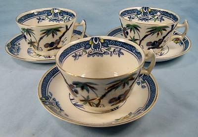 3 Kenya Blue Cup & Saucer Sets Wood & Sons Woods Ware Hand Painted Trees (O4)
