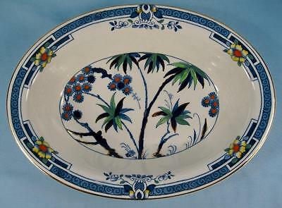 Kenya Blue Oval Vegetable Bowl Wood & Sons Woods Hand Painted Palm Trees (O4)