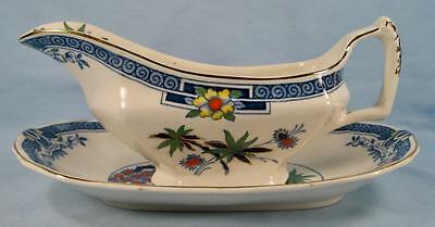 Kenya Blue Gravy Boat & Underplate Wood & Sons Woods Hand Painted Trees (O4)