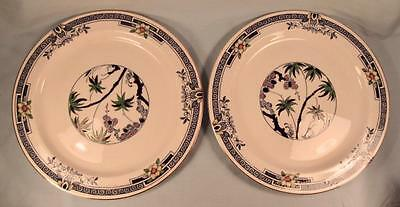 2 Kenya Blue Dinner Plates Wood & Sons Woods Ware Hand Painted Palm Trees (O4)