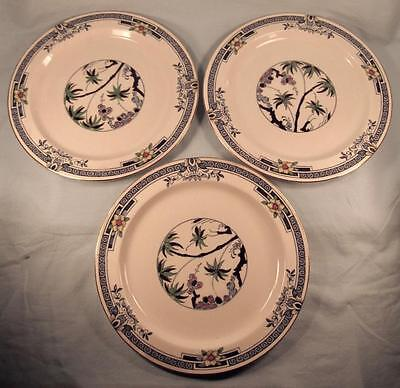 3 Kenya Blue Dinner Plates Wood & Sons Woods Ware Hand Painted Palm Trees (O4)