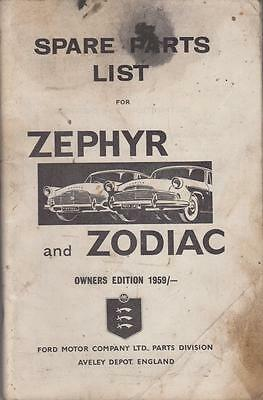 Ford Zephyr Zodiac Mk2 Saloon Convertible Orig. '59 Factory Pictorial Parts List