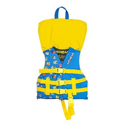 Airhead Crayon Fish Kids 30-50 Lb Open-Sided Blue Childrens Life Vest Jacket