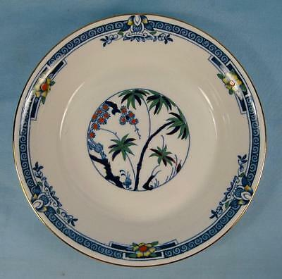 Kenya Blue Coupe Soup Bowl Wood & Sons Woods Ware Hand Painted Palm Trees (O4)