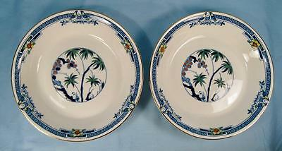 2 Kenya Blue Coupe Soup Bowls Wood & Sons Woods Ware Hand Painted Trees (O4)