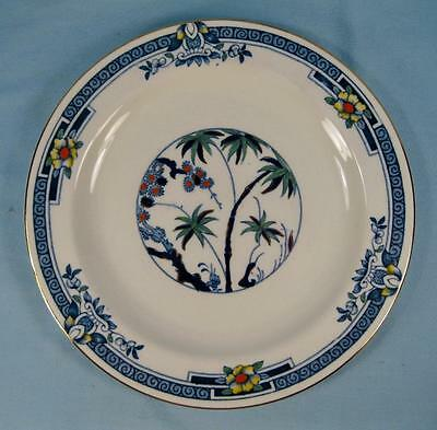 Kenya Blue Salad Plate Wood & Sons Woods Ware Hand Painted Palm Trees W627 (O4)