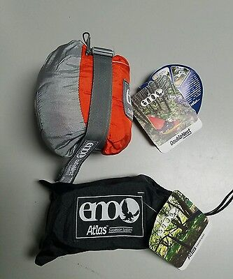 Eagles Nest Outfitters ENO DoubleNest Hammock Orange/Gray with ATLAS STRAPS