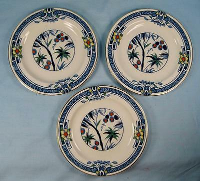 3 Kenya Blue Bread & Butter Plates Wood & Sons Woods Ware Hand Painted Tree (O4)