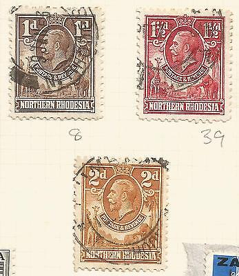 Northern Rhodesia 1925 George V; lot; 3 values, used