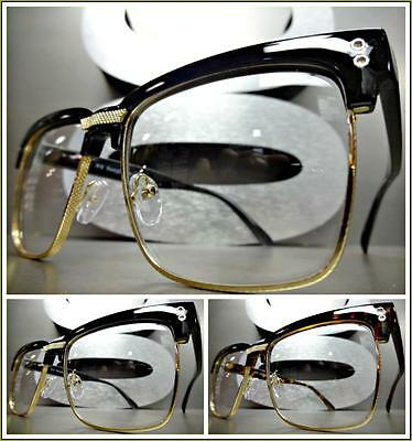 Mens Women CLASSIC VINTAGE 50's RETRO Style Clear Lens EYE GLASSES Fashion Frame