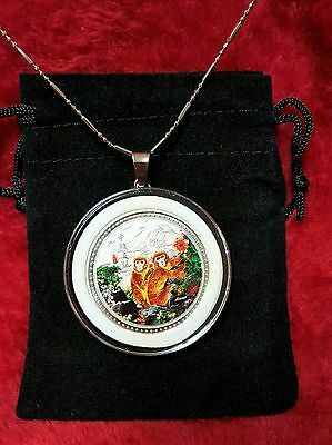 Chinese Zodiac Year of the Monkey Silver Coin Pendant + Case, Chain,Clasp.