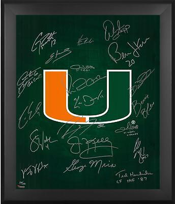Miami Hurricanes Framed 20x24 Team Signed Legends Photograph with Multiple Inscs