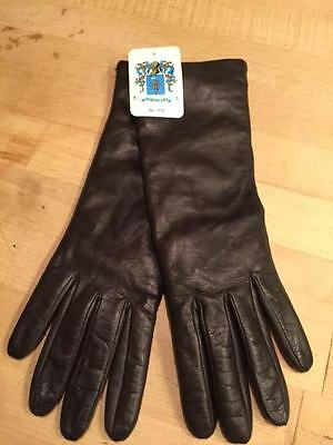 PORTOLANO Napa Soft Supple Black Leather Cashmere Lined GLOVES New NWT LADIES