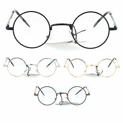8c930a51cba73 SUPER SMALL CLEAR Lens Glasses Round Circle Metal Frame Spring Hinge ...