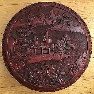 Elegance,antique Chinese Hand-Carved  Round Cinnabar Lacquer Box. 19Th C