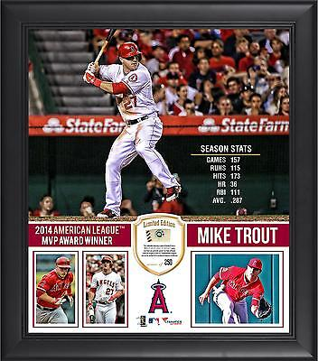 Mike Trout LA Angels 2014 AL MVP 15x17 Framed Collage w/ Piece of Game-Used Ball