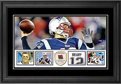 Tom Brady Patriots Framed 10x18 Panoramic with Piece of Game-Used Footbal