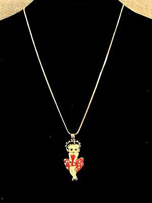 Beautiful - Betty Boop - Red Dress - Silver Necklace And Pendant - Great Gift!!