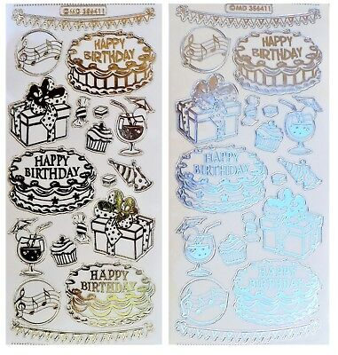 EMBOSSED BIRTHDAY Peel Off Stickers Cake Music Gold or Silver Clear Sticker