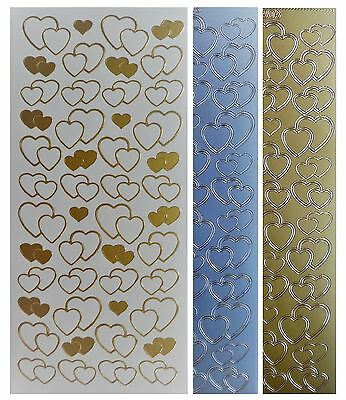 VALENTINE HEARTS Peel Off Stickers Outline Hearts Romance Love Gold or Silver