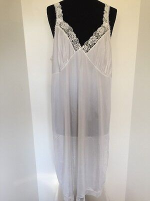Ladies Vintage Retro White Polyester Lace Full Slip Size 20 By Littlewoods