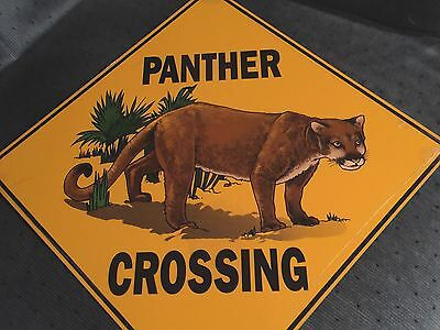 Panther Crossing Road Novelty Sign NEW 12x12 Sealed Crosswalks