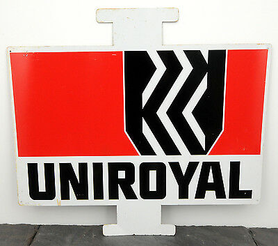 """c. 1970 Uniroyal Tires HTF Metal Tire Insert Service Station Sign 19.5"""" x 22"""""""