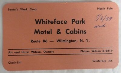 1959 Whiteface Park New York Motel And Cabins Business Card           (Inv12951)