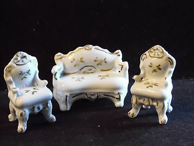 Vintage 3 Piece Porcelain Miniature Doll House Living Room Furniture Set Japan