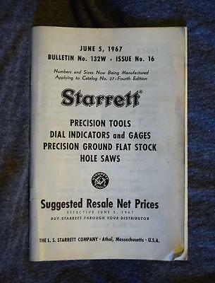 Starrett Tools 1967 Suggested Resale Net Prices Bulletin