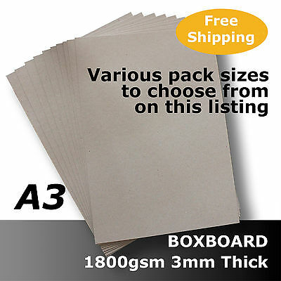 Packing BoxBoard ChipBoard Card 1800gsm 3mm A3 Grey 100% ReCycled #B1868