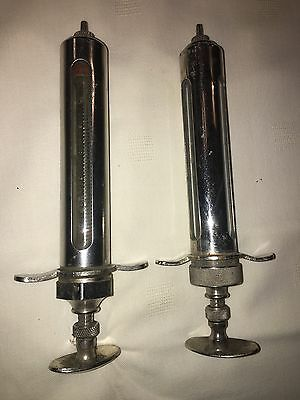 VINTAGE METAL GLASS CHAMPION VETERINARY SYRINGE No. 507/40 BD 40CC Lot