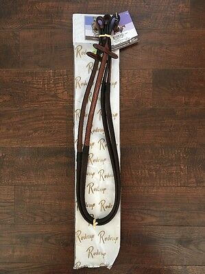 "Rodrigo Pessoa Rubber Reins Raised Fancy Stitched 5/8 x 54"" Brown NEW horse full"