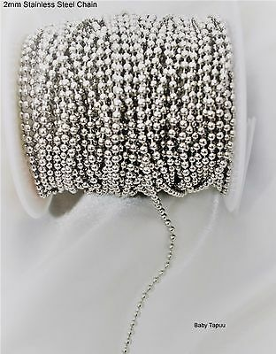 1m x 2mm stainless steel silver small balls link chain connectors DIY Necklaces