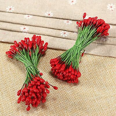 100pcs Red Double Sided Round Flower Stamen Wire wrapped Craft cards Artificial