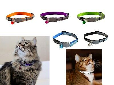 Rogz Nightcat Cat Collars With Breakaway Safety Buckle & Glow In The Dark Fabric