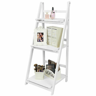 Hartleys White 3 Tier Folding Ladder Storage Home Display Shelf Bedroom/bathroom