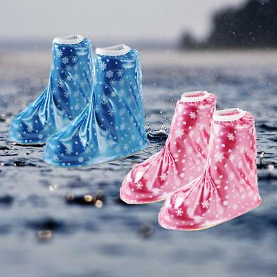 Unisex PVC Reusable Kids Waterproof Rain Shoes Cover Portable Snowflake S-XXL