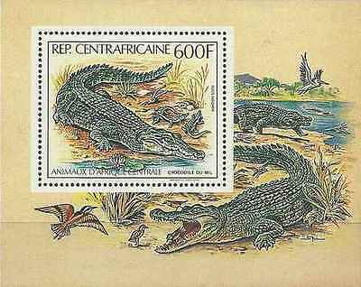 Timbre Reptiles Crocodiles Centrafrique BF55 ** lot 17736