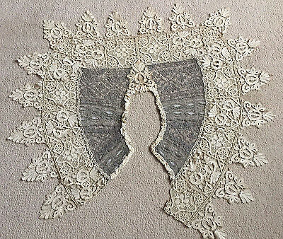 Antique decorative French Lace Collar Metallic Threads Incredible Work Damage