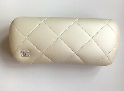 100% Brand New GENUINE Chanel White Quilted Glasses Frames Case & Box